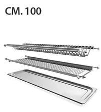 Scolapiatti pensile in acciaio inox 18/10 AISI 304, misura cm.100