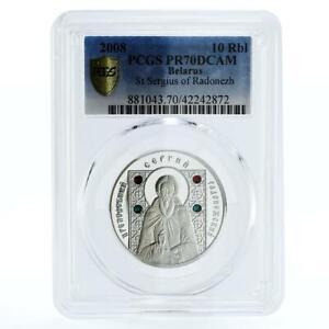 Belarus 10 rubles Saint Sergey Radonezhsky PR70 PCGS proof silver coin 2008
