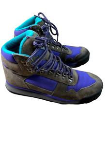 Vintage Eddie Bauer Women's Sawtooth Leather Grey Blue Hiking Boots Size 8