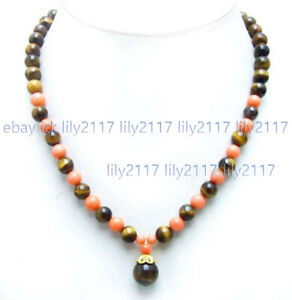 Natural 8mm Yellow Tiger's Eye Gemstone & Pink Coral Round Pendant Necklace 18''