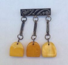 Vintage Soviet Russia 875 Silver Baltic butterscotch Amber Dangle Pin Brooch