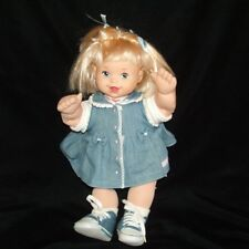 "OshKosh Doll Blonde Hair Blue Denim Dress Shoes Poseable Soft Sculpture 16"""