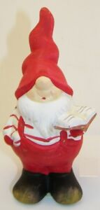 Beautiful Red Decorative Gnome With Book 16cm Christmas Garden Dwarf Deco Tone