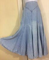 Vintage D Frank Light Wash Panel Flared Western Rodeo Cotton Denim Maxi Skirt