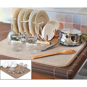 """FinnTM Dual Sided XL Dish Drying Mat Kitchen Tan 18"""" x 24"""" Microfiber Absorbent"""