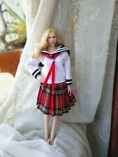 "1:6 Scale Preppy Sailor T-shirt + Pleated Skirt  For 12"" PH JO Female Body Doll"