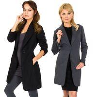 Alpine Swiss Stella Women's Wool Single Button Overcoat 7/8 Length Jacket Blazer