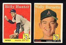 2 ATHLETICS LOT 1958 TOPPS #69 WALLY BURNETTE #98 BILLY HUNTER  VG-EX AND VG