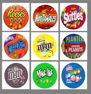"9  2"" Round Candy Machine Labels Stickers vendstar candy gumball"