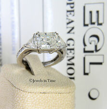 3.67 Carat Diamond Platinum Ladies Ring Size 6.5 + EGL Certificate