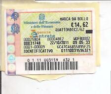 MARCA DA BOLLO 14,62 ORIGINALE VALIDA EMESSA IN DATA 22/10/2011 VALORI BOLLATI