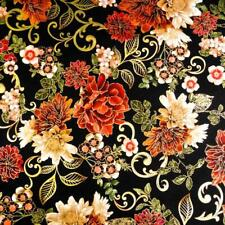 Stunning Fall Floral, Metallic Gold, Red, Ivory on Black, A Benartex Cotton, BTY