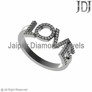 0.4cts Pave Diamond Love Ring Sterling Silver Anniversary Birthday Gifts Jewelry