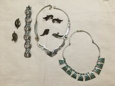 Vintage Mexico Abalone Inlaid Panel Necklace and Bracelet & other panel necklace