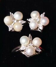Mariellasgem - NEW PEARL DIAMOND RING AND EARRING IN FINE SILVER