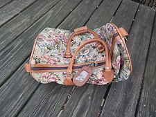 PRE-OWNED WINGS LEATHER W FLORAL TAPESTRY FABRIC DUFFLE/HANDBAG INTERNATIONAL