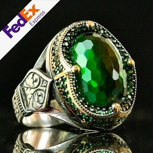Emerald Stone Turkish Handmade 925 Sterling Silver Unique Mens Ring All Sizes