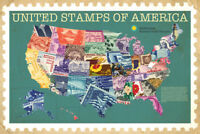 United Stamps of America Smithsonian State Map Poster 36x24