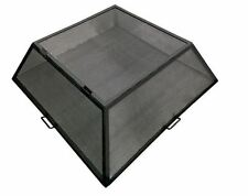 """34"""" x 34"""" Square Hybrid Steel Fire Pit Screen with Hinged Access Door"""