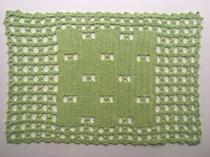 4 Vintage Placemats Crochet Light Green Yarn Handmade Set of 4 Cotton