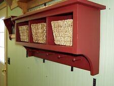 "Country Wall Shelf Cubby Shelf for Baskets Bath Or Entryway W Hooks 36""  3 cubby"