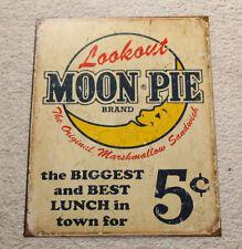 """New Lookout MOON PIE Brand Logo Distressed Retro Vintage Tin Metal 12"""" x 16"""""""