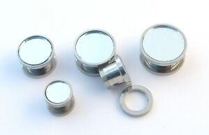 Mirror Surgical Steel Flesh Tunnel Ear Plug Screw Body Jewellery Lobe 8mm-16mm