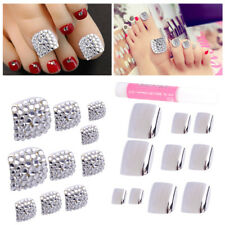 24pcs Silver 3D Rhinestones Shiny Glitter Fake Toe Nails Art Tips Manicure Tools