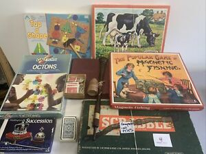 Vintage Games Toys Scrabble Octons Cards Fishing Tap-a-shape Job Lot x 10 #6344