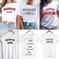 Women Men Short Sleeve T-shirts Mermaid Tee shirt Unisex Tops Tees S M L XL XXL