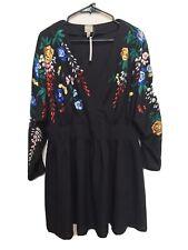 ASOS Black Floral Embroidered Dress Size 10 Medium M Short Dolman NWT A-Line Zip