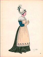 Gravure d'Emile Gallois costume des provinces françaises 1950 Normandie Argentan