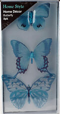 Set Of 3 Teal Blue Butterfly Wall Art 3D Stickers - Transparent Wings