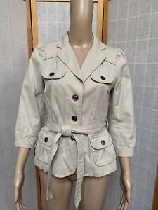 Ann Taylor LOFT Women's Petite Belted Safari Jacket Beige  3/4 Sleeve Petites PM