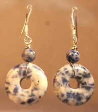 Sterling Silver Blue & White Sodalite Crystal Drop Donut Earrings