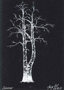 original drawing 10,5 x 15 cm 41PIr art samovar Mixed Media tree Signed 2021