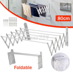 80cm Extendable Clothes Towel Drying Rack Retractable Wall Mounted Bathroom