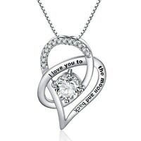 """OPEN HEART NECKLACE PENDANT W/ 3.50 CT BAGUETTE Crystal White Gold Plated 18"""""""