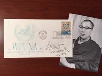 HIS HOLINESS TENZIN GYATSO, 14TH DALAI LAMA, RARE SIGNED COVER,TITLE, NAME, DATE