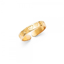 Adjustable - Love Polished Foot Band Women 14K Solid Yellow Gold Heart Toe Ring