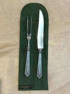 Antique Sterling Silver Carving Set by Stowell & Co. of Boston, in Fabric Sleeve