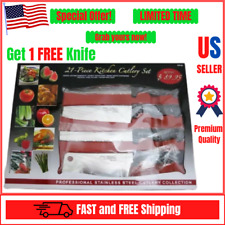 Kitchen Cutlery Chef's Knife 21 Piece Set Chef Deluxe Miracle Edge Knives