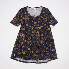 LuLaRoe Perfect T Pullover Tunic Top Short Slv Navy Gold Purple Floral Womens XS