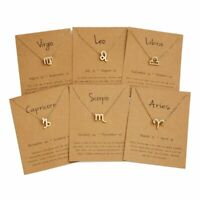 New 12 Constellation Zodiac Signs Women Pendant Necklace Card Choker Jewellery