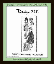 Crochet Vintage DOLL 11½ WARDROBE Craft SHIFT, GOWN, SHORTS and more Design 7511