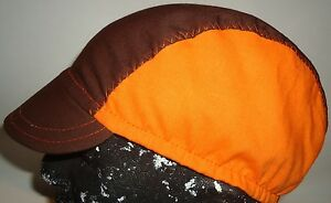 CYCLING CAP ONE SIZE HANDMADE IN USA BROWN & NEON ORANGE  100% COTTON