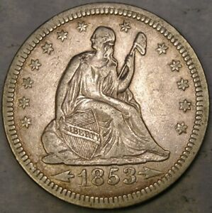 1853 LIBERTY SEATED SILVER QUARTER RAYS APPEALIN BEAUTIFUL DRAPERY HAIR FEATHERS