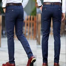 Mens Slim Fit Pencil Pants Plaid Business Casual Trousers Long Cotton Linen U586