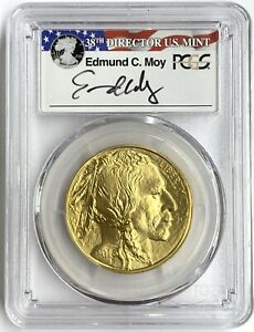 2016 $50 1 oz American Gold Buffalo PCGS MS70 First Strike 10th Ann Edmund Moy