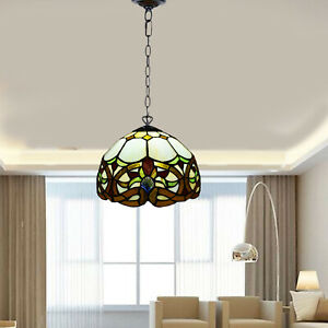 Antique Tiffany Style Pendant Lamp Beautiful Hand Crafted Stained Glass Shade UK